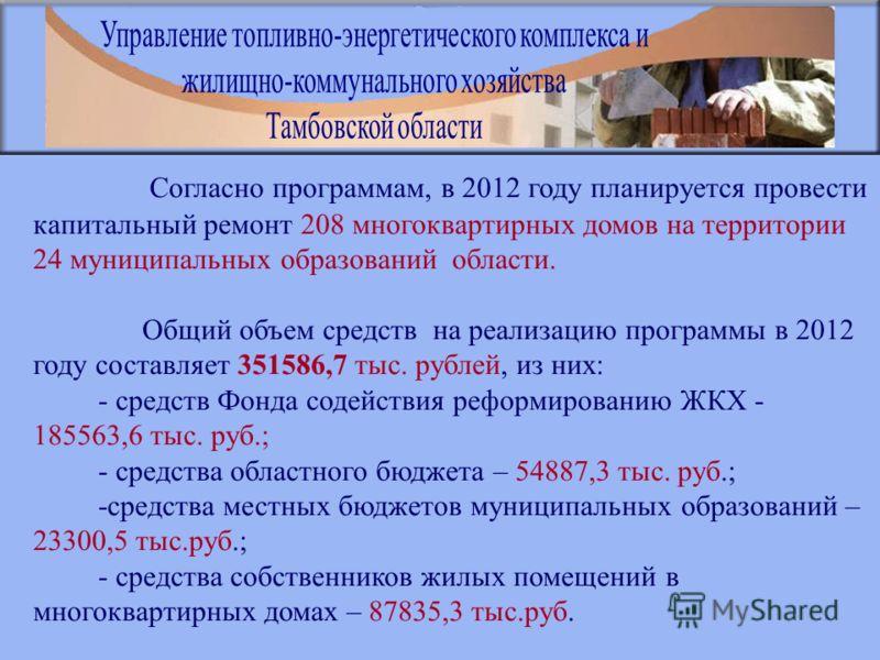 Согласно программам, в 2012 году планируется провести капитальный ремонт 208 многоквартирных домов на территории 24 муниципальных образований области. Общий объем средств на реализацию программы в 2012 году составляет 351586,7 тыс. рублей, из них: -