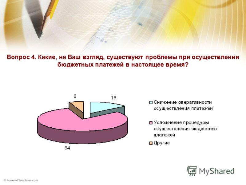 Вопрос 4. Какие, на Ваш взгляд, существуют проблемы при осуществлении бюджетных платежей в настоящее время?