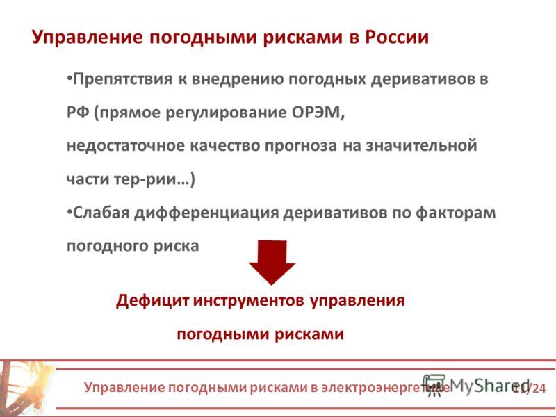 Управление погодными рисками в электроэнергетике 11/24 Управление погодными рисками в России Препятствия к внедрению погодных деривативов в РФ (прямое регулирование ОРЭМ, недостаточное качество прогноза на значительной части тер-рии…) Слабая дифферен