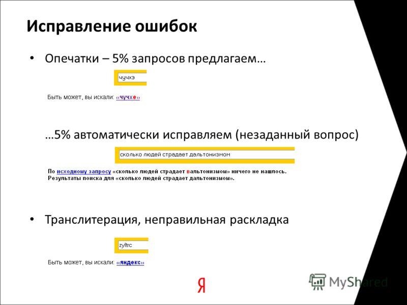 Исправление ошибок Опечатки – 5% запросов предлагаем… Транслитерация, неправильная раскладка …5% автоматически исправляем (незаданный вопрос)