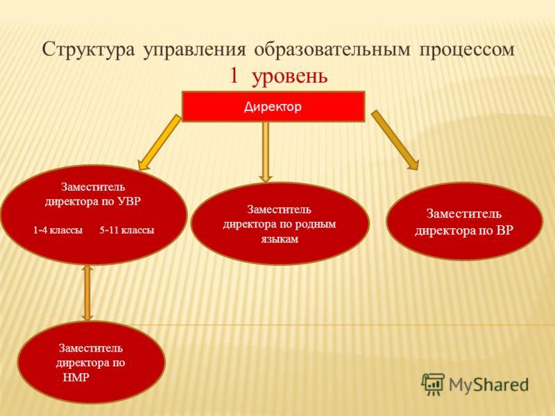 Структура управления образовательным процессом 1 уровень Директор Заместитель директора по УВР 1-4 классы 5-11 классы Заместитель директора по родным языкам Заместитель директора по ВР Заместитель директора по НМР