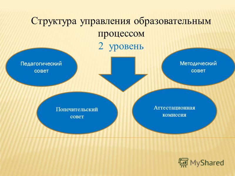 Структура управления образовательным процессом 2 уровень Педагогический совет Попечительский совет Методический совет Аттестационная комиссия