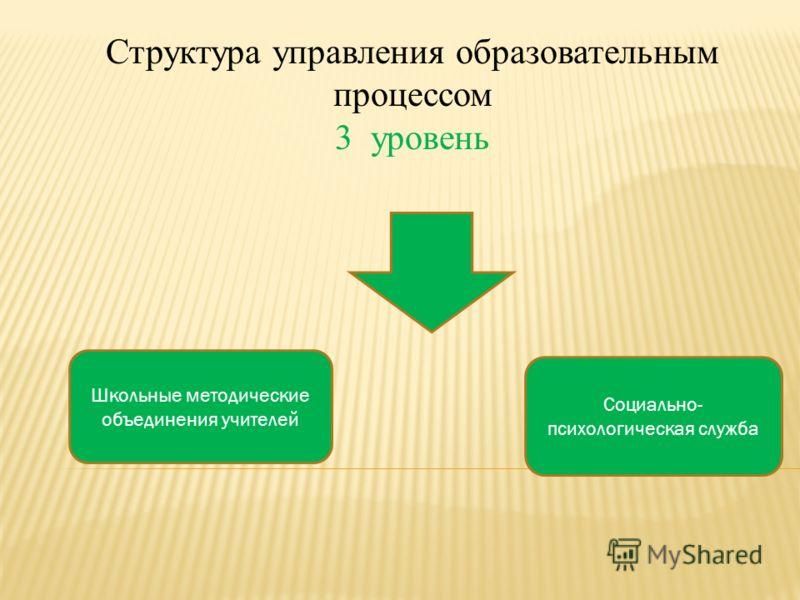 Структура управления образовательным процессом 3 уровень Школьные методические объединения учителей Социально- психологическая служба