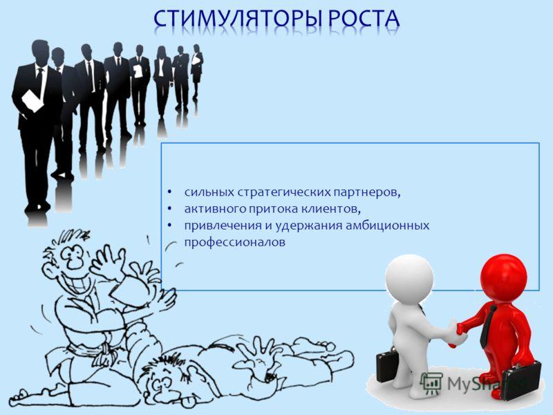 сильных стратегических партнеров, активного притока клиентов, привлечения и удержания амбиционных профессионалов