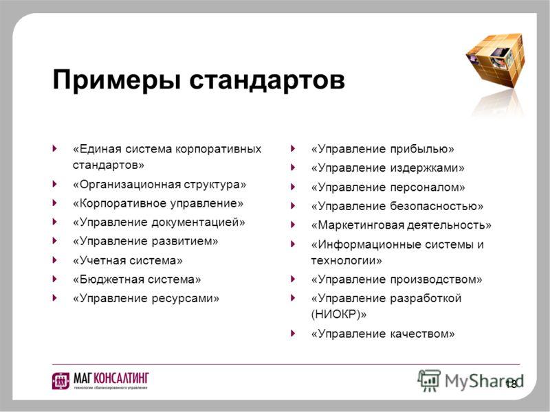 18 Примеры стандартов «Единая система корпоративных стандартов» «Организационная структура» «Корпоративное управление» «Управление документацией» «Управление развитием» «Учетная система» «Бюджетная система» «Управление ресурсами» «Управление прибылью