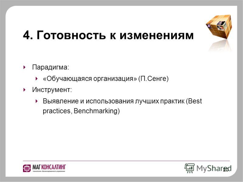 20 4. Готовность к изменениям Парадигма: «Обучающаяся организация» (П.Сенге) Инструмент: Выявление и использования лучших практик (Best practices, Benchmarking)