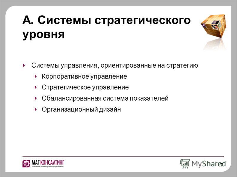 7 A. Системы стратегического уровня Системы управления, ориентированные на стратегию Корпоративное управление Стратегическое управление Сбалансированная система показателей Организационный дизайн