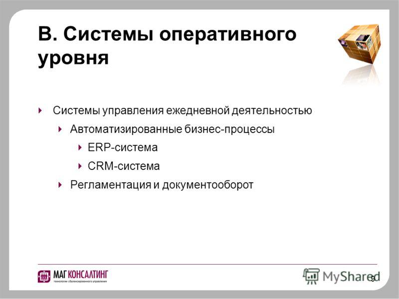 9 В. Системы оперативного уровня Системы управления ежедневной деятельностью Автоматизированные бизнес-процессы ERP-система CRM-система Регламентация и документооборот