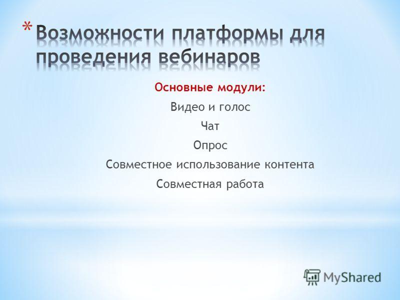 Основные модули: Видео и голос Чат Опрос Совместное использование контента Совместная работа