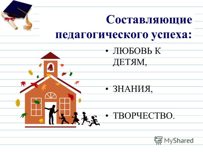 Составляющие педагогического успеха: ЛЮБОВЬ К ДЕТЯМ, ЗНАНИЯ, ТВОРЧЕСТВО.