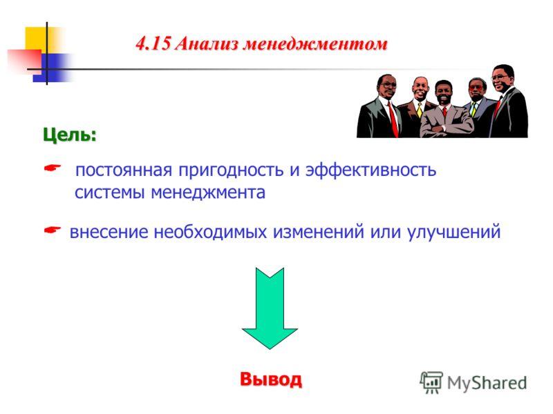 4.15 Анализ менеджментом Цель: постоянная пригодность и эффективность системы менеджмента внесение необходимых изменений или улучшений Вывод