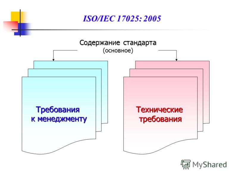 Содержание стандарта (основное) Требования к менеджменту Техническиетребования ISO/IEC 17025: 2005