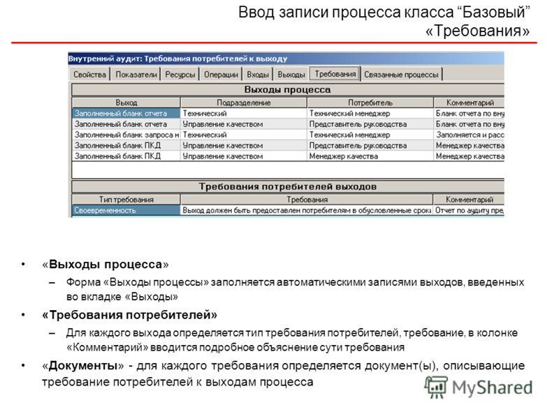 Ввод записи процесса класса Базовый «Требования» «Выходы процесса» –Форма «Выходы процессы» заполняется автоматическими записями выходов, введенных во вкладке «Выходы» «Требования потребителей» –Для каждого выхода определяется тип требования потребит