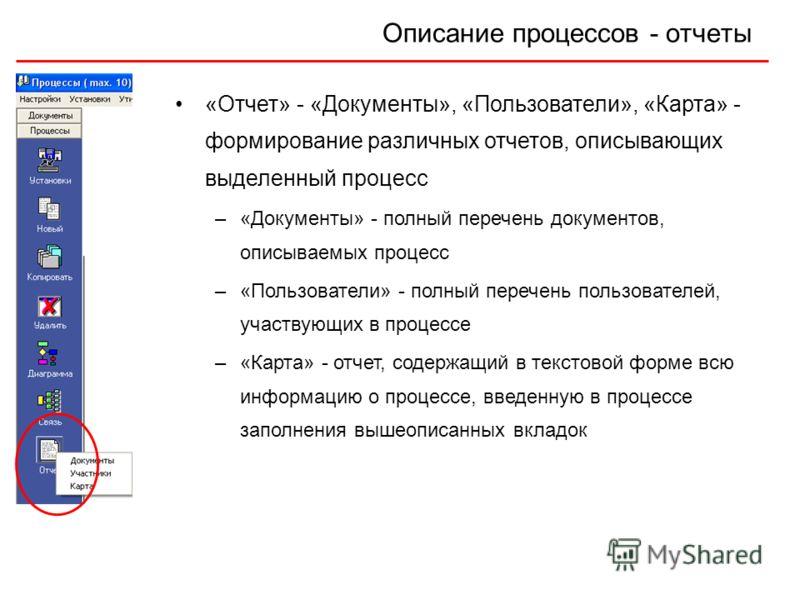Описание процессов - отчеты «Отчет» - «Документы», «Пользователи», «Карта» - формирование различных отчетов, описывающих выделенный процесс –«Документы» - полный перечень документов, описываемых процесс –«Пользователи» - полный перечень пользователей