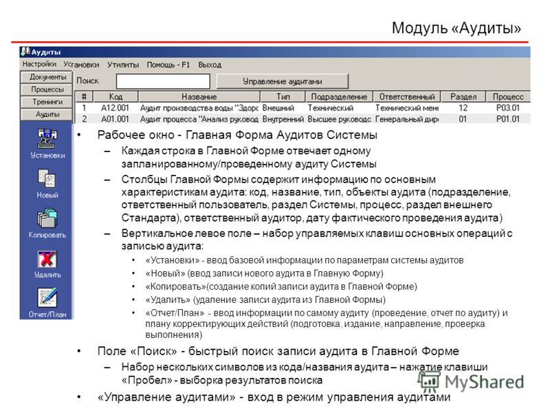 Модуль «Аудиты» Рабочее окно - Главная Форма Аудитов Системы –Каждая строка в Главной Форме отвечает одному запланированному/проведенному аудиту Системы –Столбцы Главной Формы содержит информацию по основным характеристикам аудита: код, название, тип