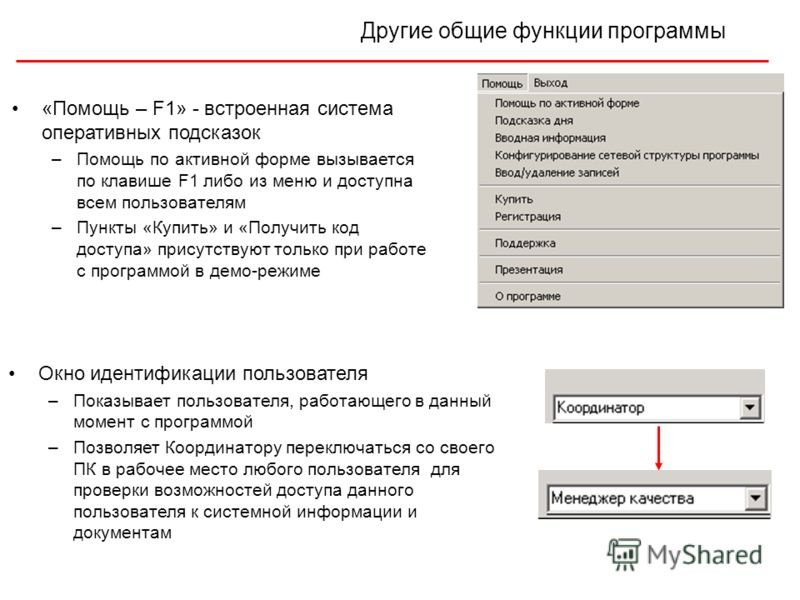 Другие общие функции программы «Помощь – F1» - встроенная система оперативных подсказок –Помощь по активной форме вызывается по клавише F1 либо из меню и доступна всем пользователям –Пункты «Купить» и «Получить код доступа» присутствуют только при ра