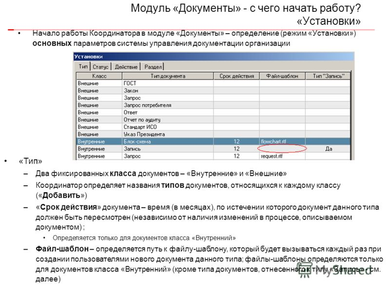 Модуль «Документы» - с чего начать работу? «Установки» Начало работы Координатора в модуле «Документы» – определение (режим «Установки») основных параметров системы управления документации организации «Тип» –Два фиксированных класса документов – «Вну