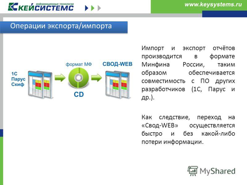Операции экспорта/импорта Импорт и экспорт отчётов производится в формате Минфина России, таким образом обеспечивается совместимость с ПО других разра