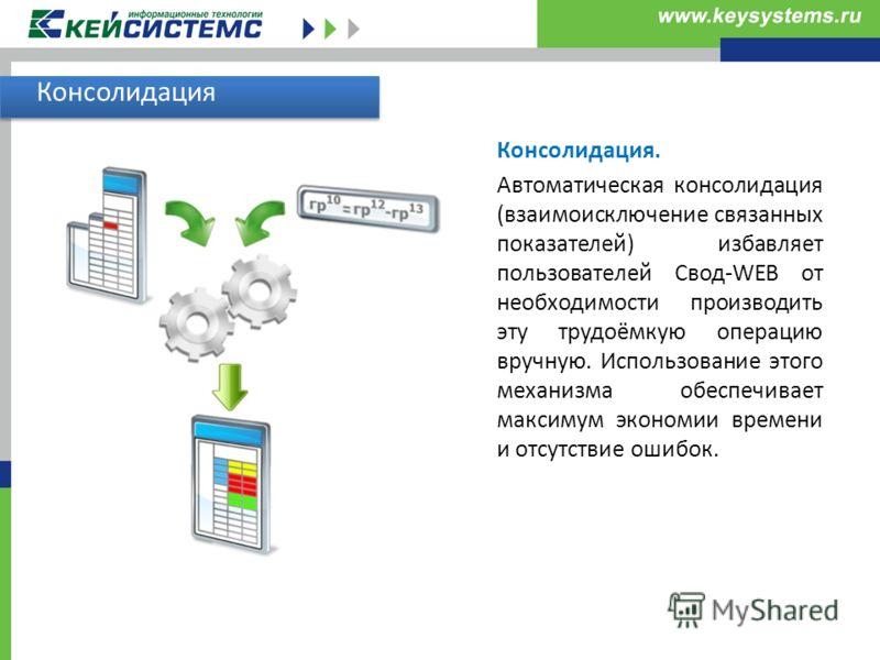 Консолидация Консолидация. Автоматическая консолидация (взаимоисключение связанных показателей) избавляет пользователей Свод-WEB от необходимости производить эту трудоёмкую операцию вручную. Использование этого механизма обеспечивает максимум экономи