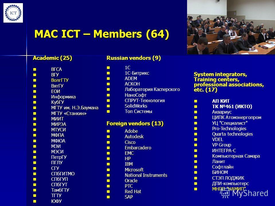 MAC ICT – Members (64) Foreign vendors (13) Adobe Adobe Autodesk Autodesk Cisco Cisco Embarcadero Embarcadero EMC EMC HP HP IBM IBM Microsoft Microsoft National Instruments National Instruments Oracle Oracle PTC PTC Red Hat Red Hat SAP SAP Russian ve