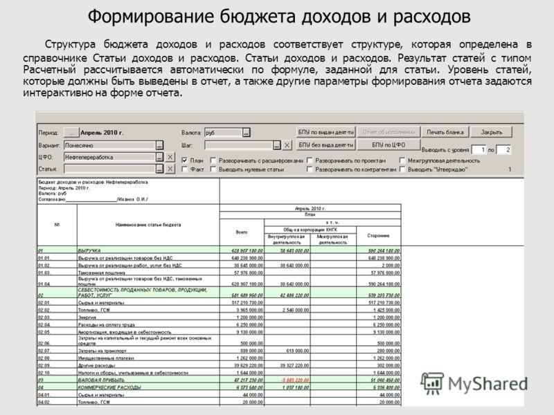 Формирование бюджета доходов и расходов Структура бюджета доходов и расходов соответствует структуре, которая определена в справочнике Статьи доходов и расходов. Статьи доходов и расходов. Результат статей с типом Расчетный рассчитывается автоматичес