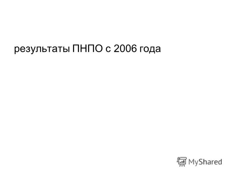 результаты ПНПО с 2006 года