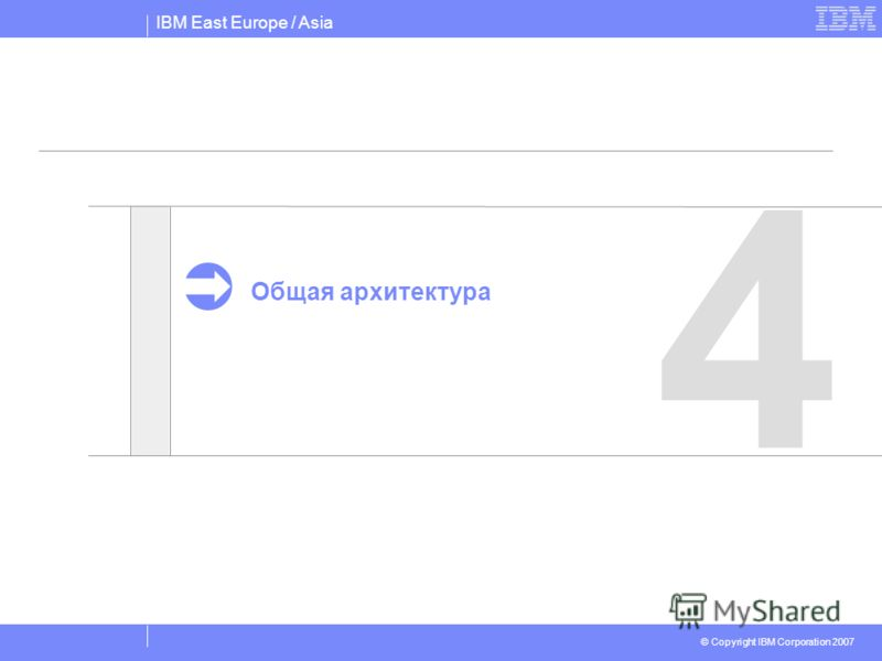 IBM East Europe / Asia © Copyright IBM Corporation 2007 4 Общая архитектура