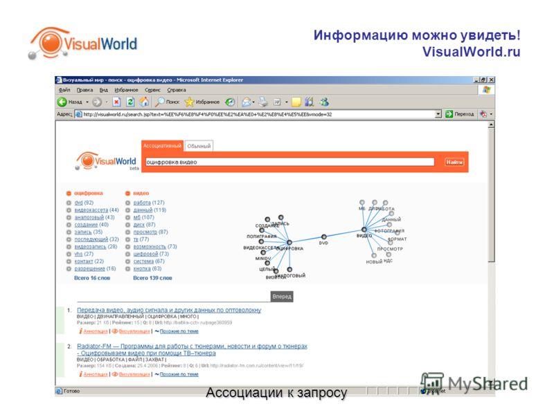 Информацию можно увидеть! VisualWorld.ru Ассоциации к запросу
