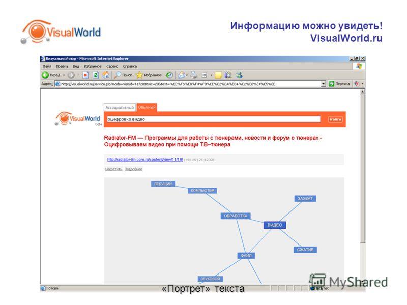 Информацию можно увидеть! VisualWorld.ru «Портрет» текста