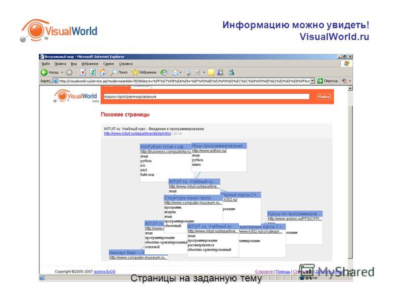 Информацию можно увидеть! VisualWorld.ru Страницы на заданную тему