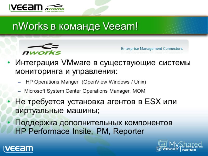 nWorks в команде Veeam! Интеграция VMware в существующие системы мониторинга и управления: – HP Operations Manger (OpenView Windows / Unix) –Microsoft System Center Operations Manager, MOM Не требуется установка агентов в ESX или виртуальные машины;