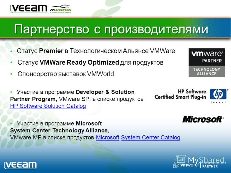 Партнерство с производителями Статус Premier в Технологическом Альянсе VMWare Статус VMWare Ready Optimized для продуктов Спонсорство выставок VMWorld Участие в программе Developer & Solution Partner Program, VMware SPI в списке продуктов HP Software