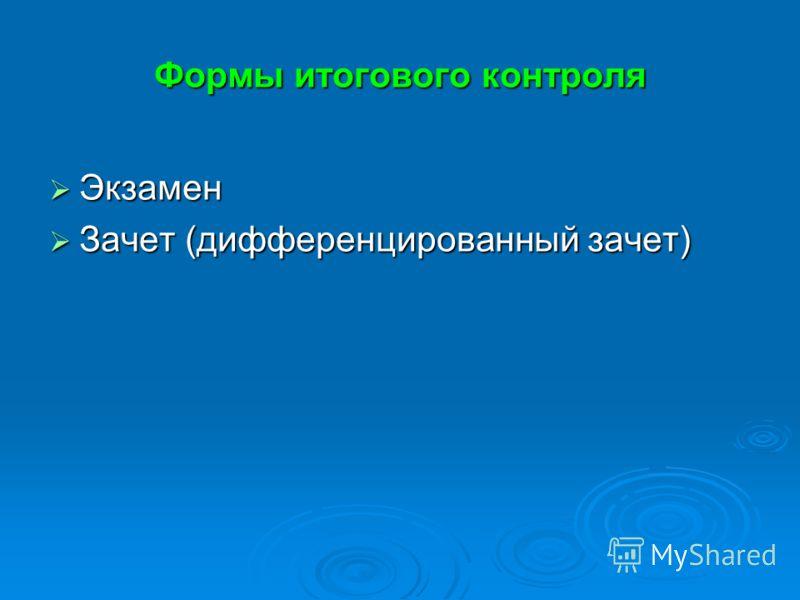 Формы итогового контроля Экзамен Экзамен Зачет (дифференцированный зачет) Зачет (дифференцированный зачет)