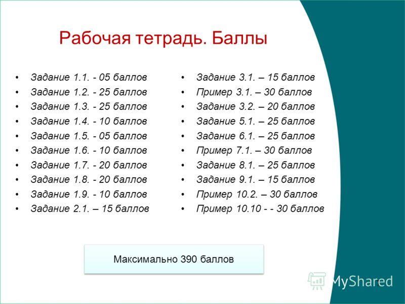 Экзамен Для подготовки Задания в рабочей тетради (1.1. – 9.1.). Тестовая задача 6 Пример рабочей тетради Пример тестовой задачи