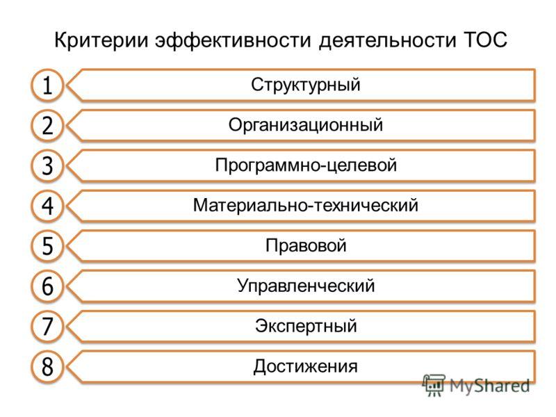 Критерии эффективности деятельности ТОС Структурный Организационный Программно-целевой Материально-технический Правовой Управленческий Экспертный Достижения