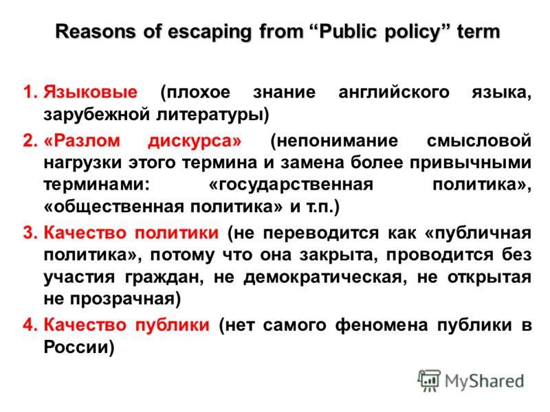 1.Языковые (плохое знание английского языка, зарубежной литературы) 2.«Разлом дискурса» (непонимание смысловой нагрузки этого термина и замена более привычными терминами: «государственная политика», «общественная политика» и т.п.) 3.Качество политики
