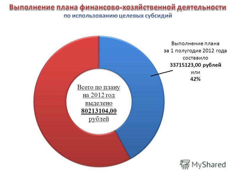 Всего по плану на 2012 год выделено 80213104,00 рублей Выполнение плана за 1 полугодие 2012 года составило 33715123,00 рублей или 42%