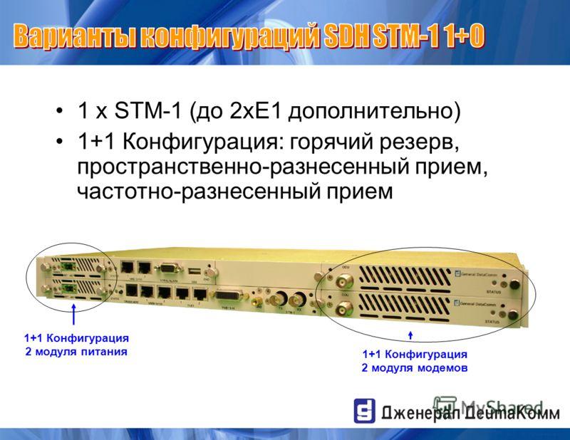 1 x STM-1 (до 2xE1 дополнительно) 1+1 Конфигурация: горячий резерв, пространственно-разнесенный прием, частотно-разнесенный прием 1+1 Конфигурация 2 модуля питания 1+1 Конфигурация 2 модуля модемов