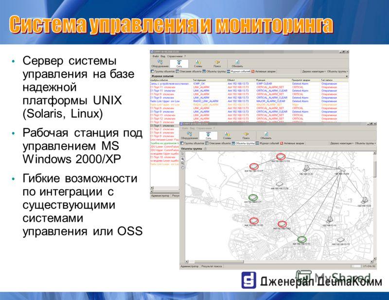 Сервер системы управления на базе надежной платформы UNIX (Solaris, Linux) Рабочая станция под управлением MS Windows 2000/XP Гибкие возможности по интеграции с существующими системами управления или OSS