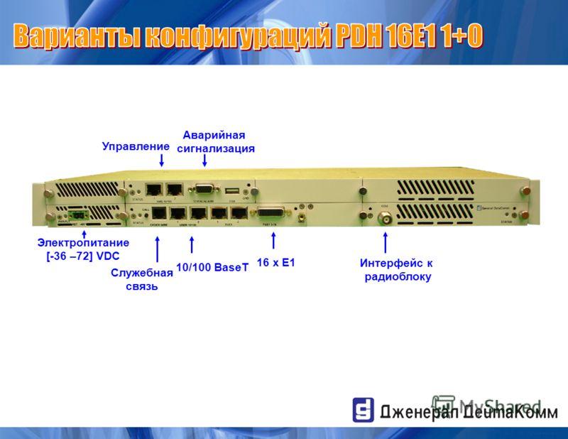16 x E1 Управление 10/100 BaseT Служебная связь Электропитание [-36 –72] VDC Аварийная сигнализация Интерфейс к радиоблоку