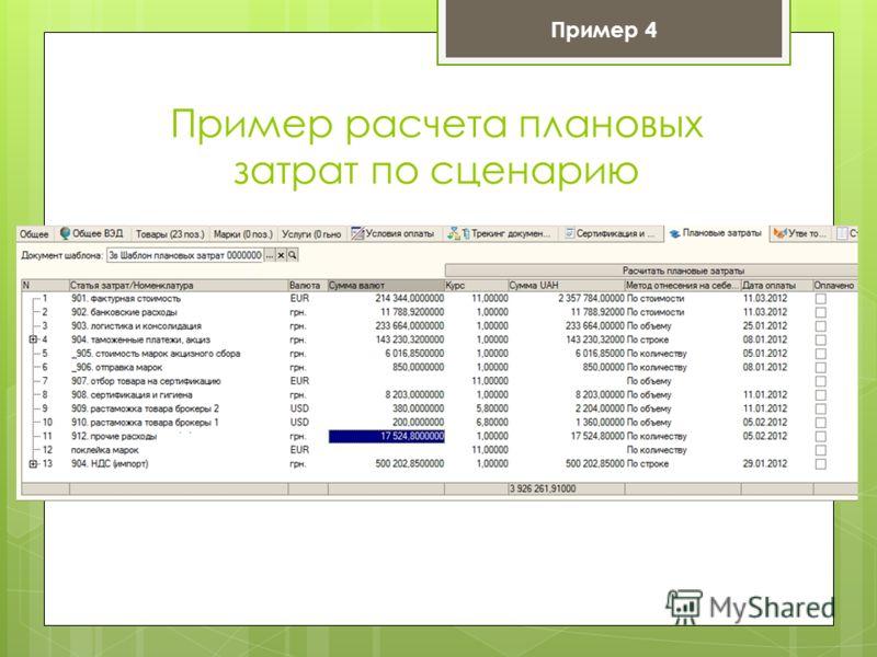 Пример расчета плановых затрат по сценарию Пример 4