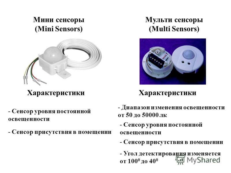 Мини сенсоры (Mini Sensors) Мульти сенсоры (Multi Sensors) Характеристики - Сенсор уровня постоянной освещенности - Сенсор присутствия в помещении - Диапазон изменения освещенности от 50 до 50000 лк Характеристики - Сенсор уровня постоянной освещенно