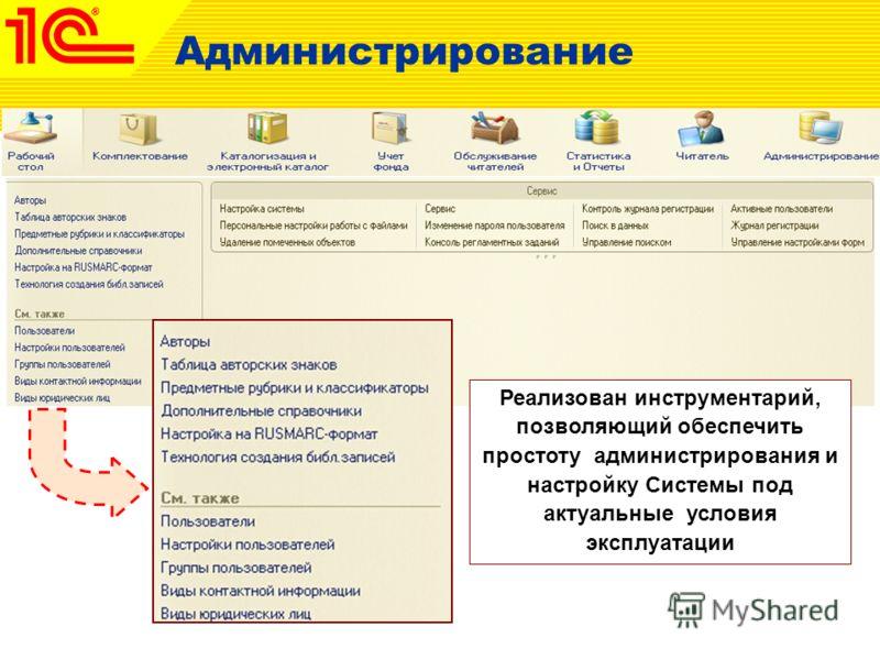 Администрирование Реализован инструментарий, позволяющий обеспечить простоту администрирования и настройку Системы под актуальные условия эксплуатации