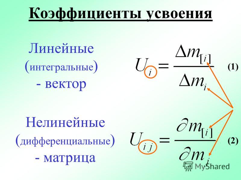 Коэффициенты усвоения Линейные ( интегральные ) - вектор Нелинейные ( дифференциальные ) - матрица (1) (2)