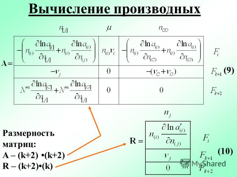 Вычисление производных (9) (10) Размерность матриц: A – (k+2) (k+2) R – (k+2)(k)