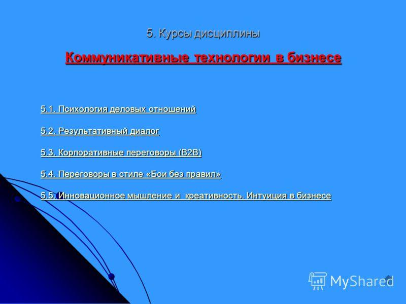 5. Курсы дисциплины Коммуникативные технологии в бизнесе 5.1. Психология деловых отношений 5.1. Психология деловых отношений 5.2. Результативный диалог 5.2. Результативный диалог 5.3. Корпоративные переговоры (В2В) 5.3. Корпоративные переговоры (В2В)