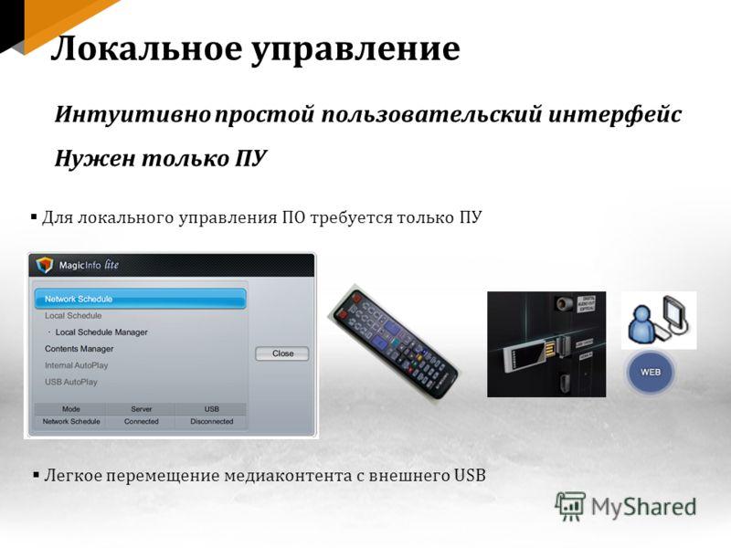 Для локального управления ПО требуется только ПУ Легкое перемещение медиаконтента с внешнего USB Локальное управление Интуитивно простой пользовательский интерфейс Нужен только ПУ