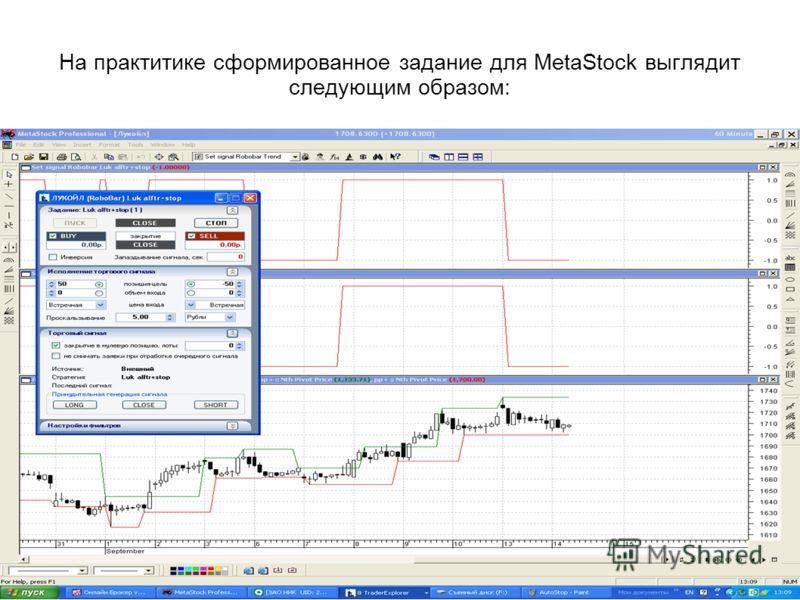 На практитике сформированное задание для MetaStock выглядит следующим образом: