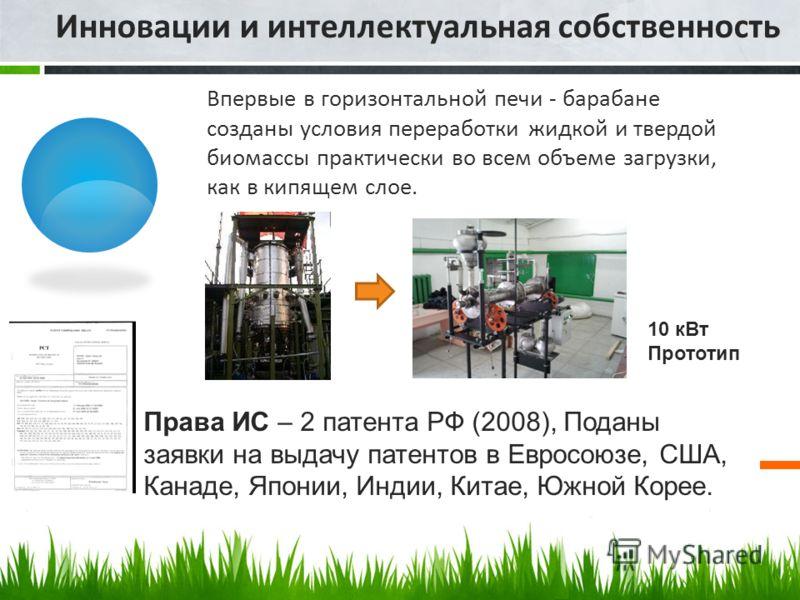Инновации и интеллектуальная собственность Впервые в горизонтальной печи - барабане созданы условия переработки жидкой и твердой биомассы практически во всем объеме загрузки, как в кипящем слое. 10 кВт Прототип Права ИС – 2 патента РФ (2008), Поданы