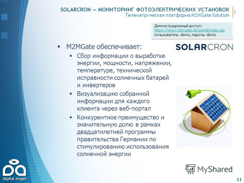 Телеметрическая платформа M2MGate Solution SOLARCRON МОНИТОРИНГ ФОТОЭЛЕКТРИЧЕСКИХ УСТАНОВОК M2MGate обеспечивает: Сбор информации о выработке энергии, мощности, напряжении, температуре, технической исправности солнечных батарей и инвертеров Визуализа